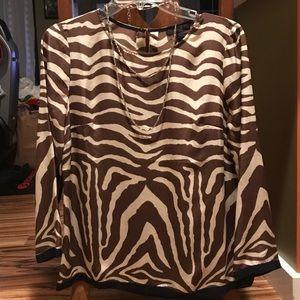J Crew silk blouse animal print black trim women